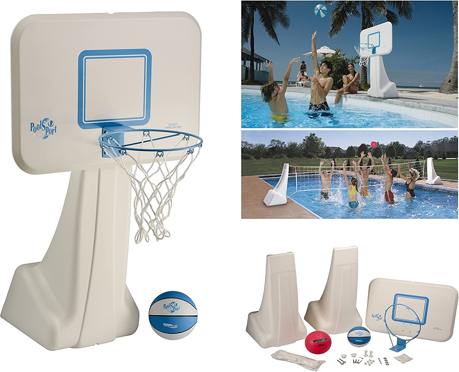 B000PIQTL6 Dunnrite Products Pool Sport 2-in-1 Swimming Basketball Hoop and Volleyball Combo Set 91mXQmHCU7L.SL1500_