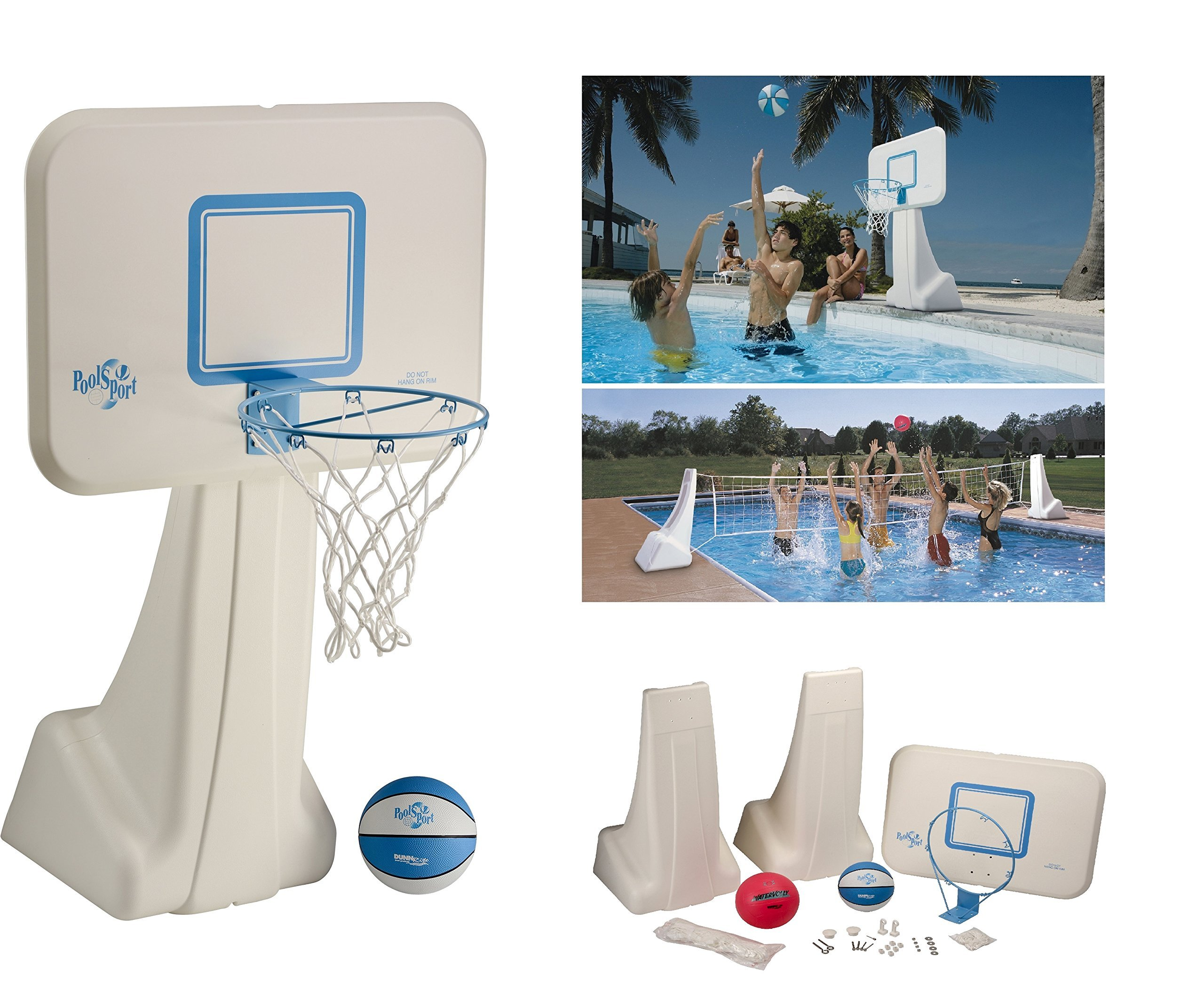 Dunnrite Products Pool Sport 2-in-1 Swimming Basketball Hoop and Volleyball Combo Set by Dunnrite Products