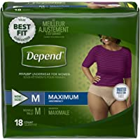 Depend FIT-FLEX Incontinence Underwear for Women, Maximum Absorbency, M, Tan (Packaging may vary)