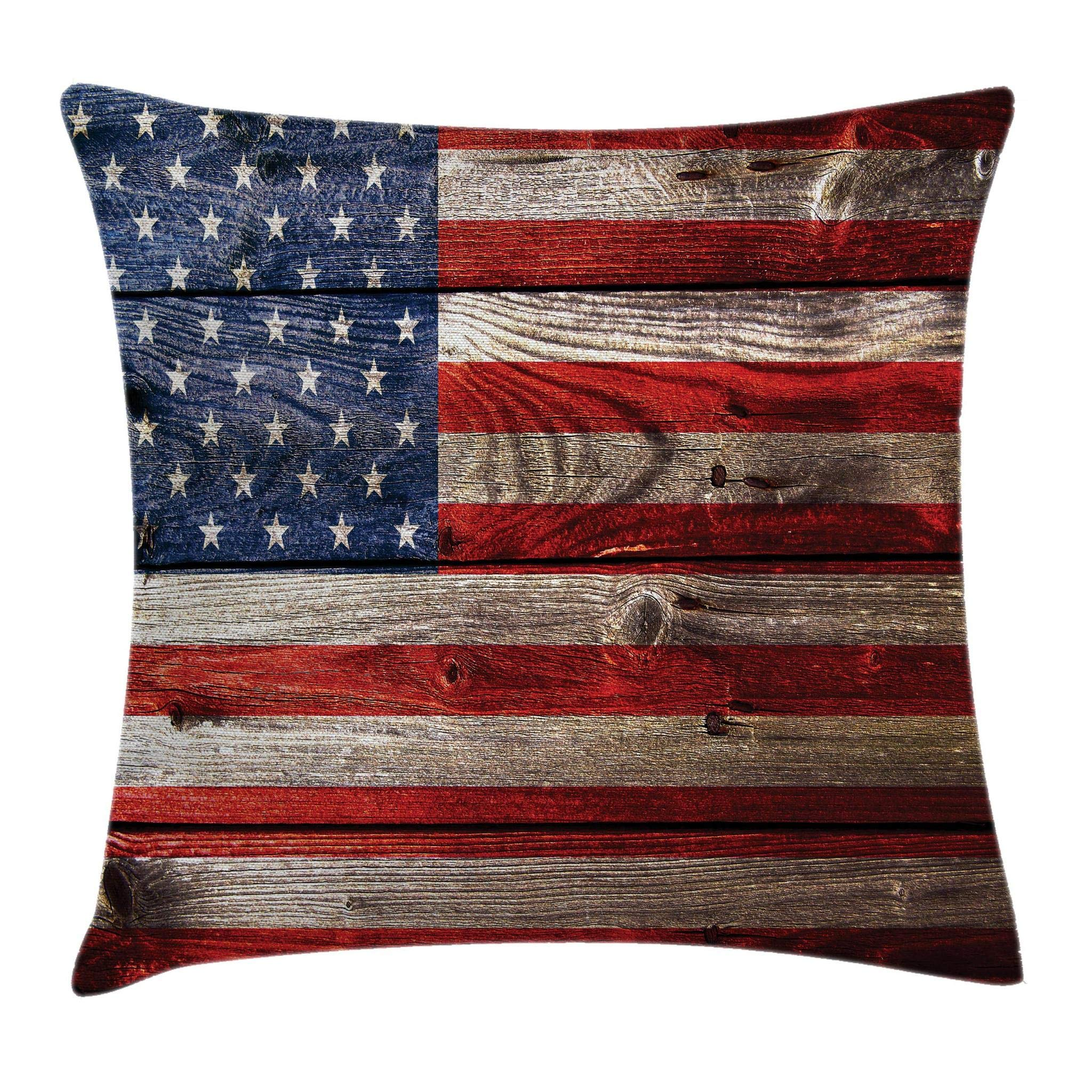 Ambesonne USA Throw Pillow Cushion Cover, Fourth of July Independence Day Weathered Retro Wood Wall Looking Country Emblem, Decorative Square Accent Pillow Case, 18'' X 18'', Red Blue Tan