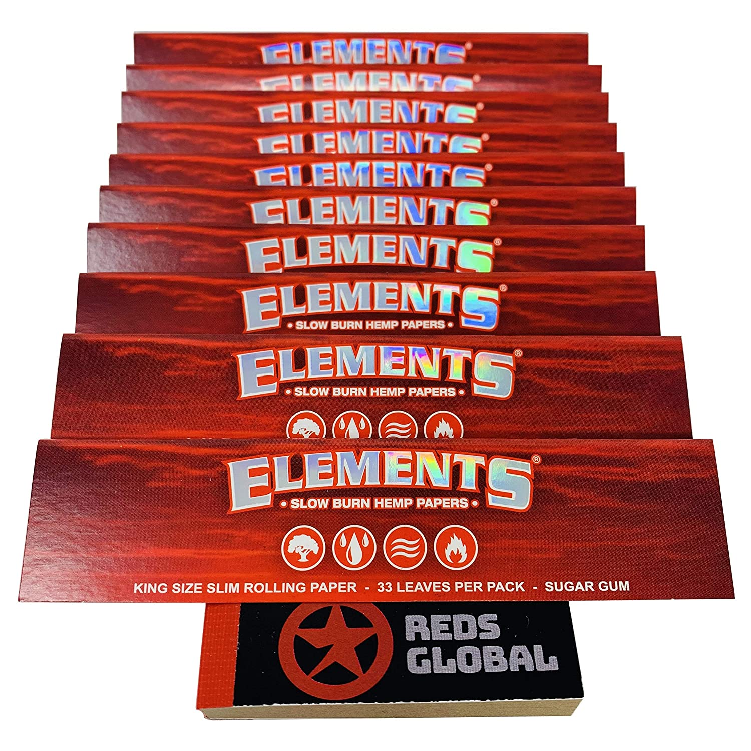 5 X ELEMENTS RED KING SIZE SLIM ROLLING SLOW BURNING 3 RAW ROACH TIPS BOOKLETS