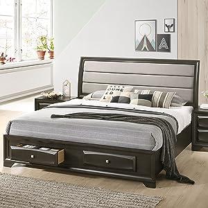 Roundhill Furniture Asger Storage Platform Bed, Antique Gray