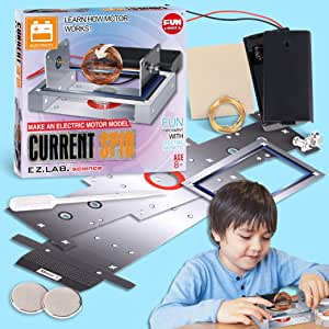 SimpleElectricMotorModel Assemble kit, FunKidz Current Spin Making Kit for kids Physics Science lab Set Educational Gift for Teens Electricity and Magnetism Experiment Kit for Boys and Girls Age 8+