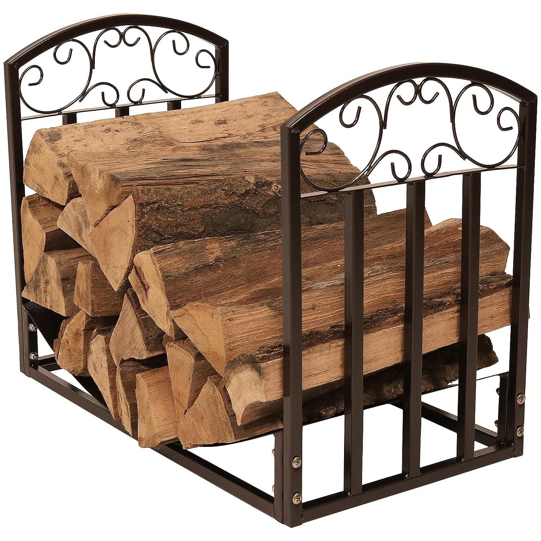 Sunnydaze Designer Indoor/Outdoor 2-Foot Decorative Log Rack, Black Sunnydaze Decor