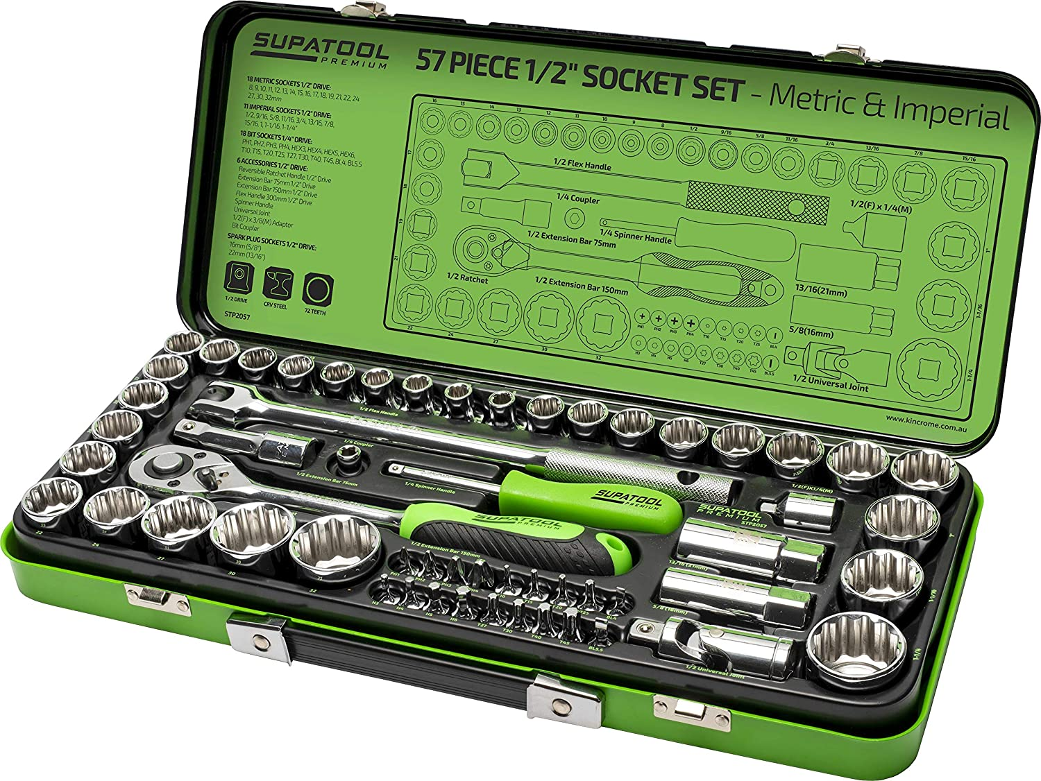 40 Piece 1//4 /& 3//8 Drive SAE /& Metric Tool Kit with Reversible Ratchet /& Case Supatool Socket Wrench Set