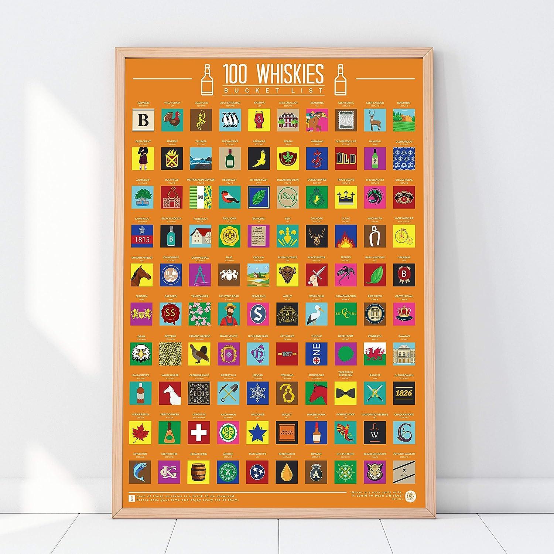 100 Whiskies Bucket List Scratch Poster