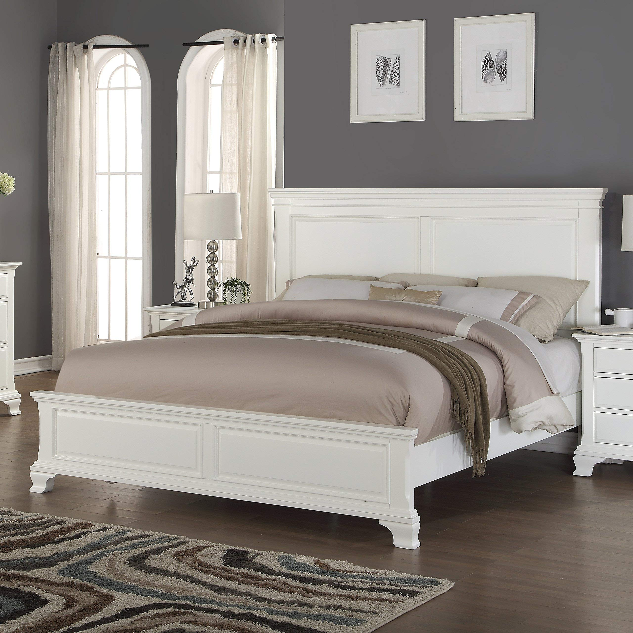 Roundhill Furniture Laveno 012 White Wood Bed, King by Roundhill Furniture