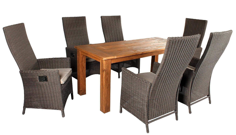 Ambientehome 7tlg. Set Sitzgruppe Strandtgut Teak/Polyrattan Essgruppe Tisch 180 cm, verstellbarer Sessel Braun