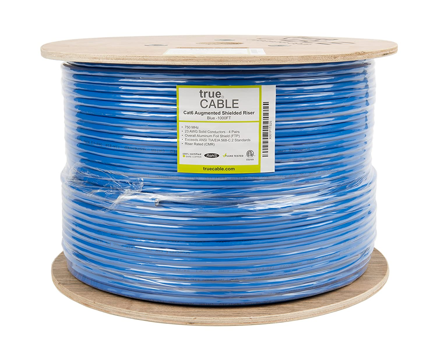 Amazon.com: Cat6A Shielded Riser (CMR), 1000ft, Blue, 23AWG Solid ...