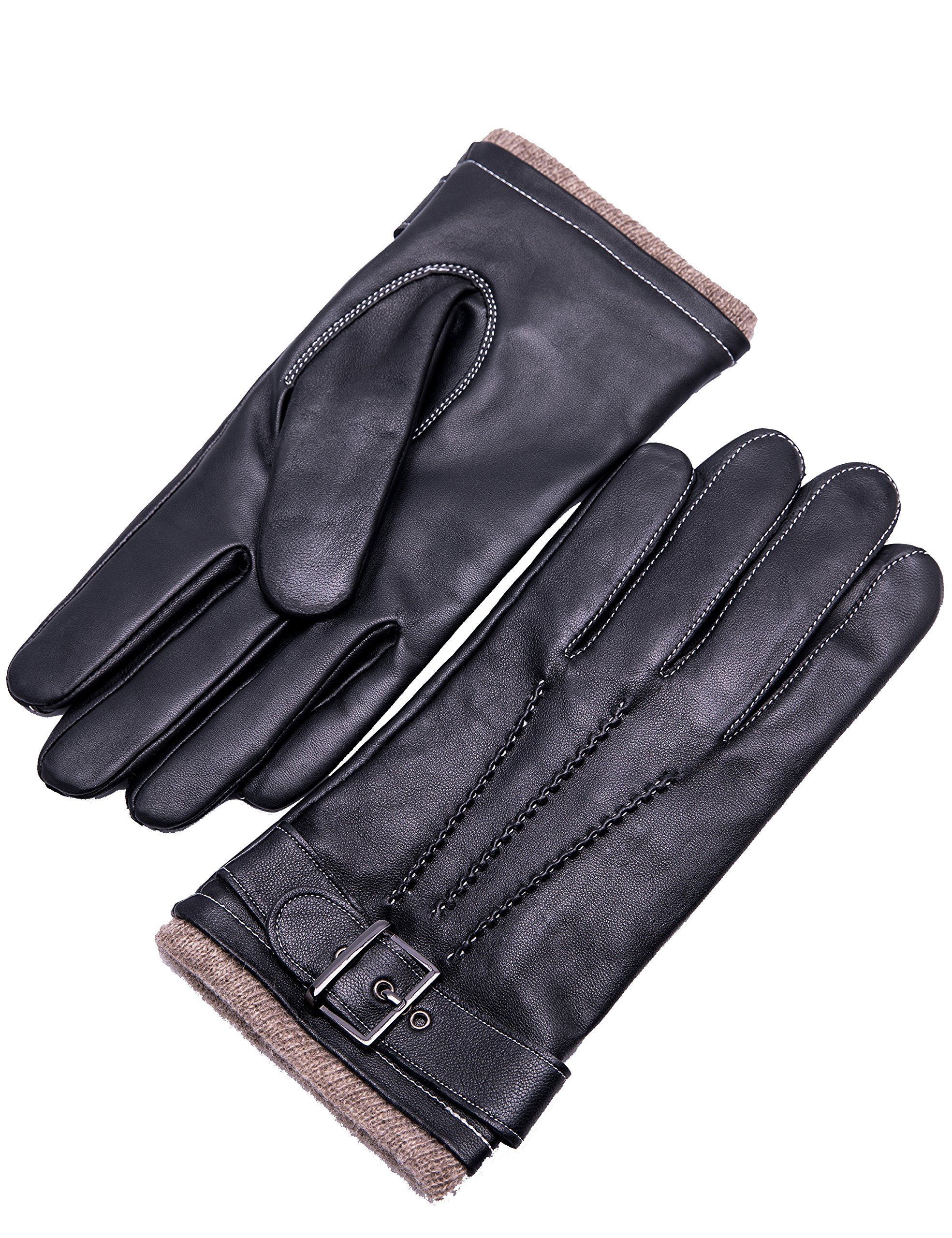 YISEVEN Men's Cashmere Lined Touchscreen Lambskin Leather Gloves Three Points and Buckle Belt Slim Hand Warm Fur Lined for Winter Heated Luxury Dress Xmas Gifts Motorcycle Driving, Black 10''/XL
