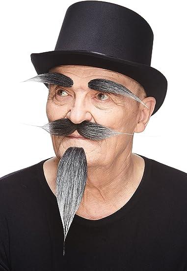 New Deluxe Human Hair Grey Gentleman/'s Costume Mustache