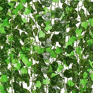 DearHouse 24 Strands Artificial Ivy Leaf Plants Vine Hanging Garland Fake Foliage Flowers Home Kitchen Garden Office Wedding Wall Decor, 182Feet