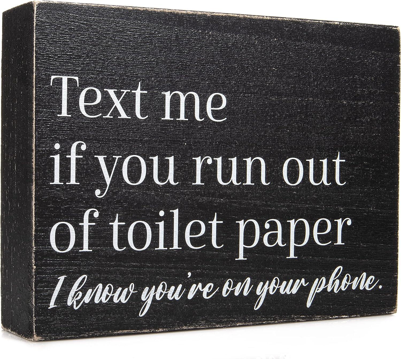 Funny Bathroom Signs and Restroom Decor - Bathroom Decor Wall Art and Accessories - Black and White Bathroom Decorations for Guest Bathroom or Half Bathroom - Farmhouse Boho Toilet Signs