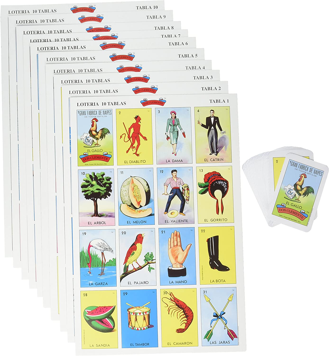Amazon Com Don Clemente Mexican Jumbo Loteria Set Deck Of Cards Fun And Educational 10 Large Boards Toys Games