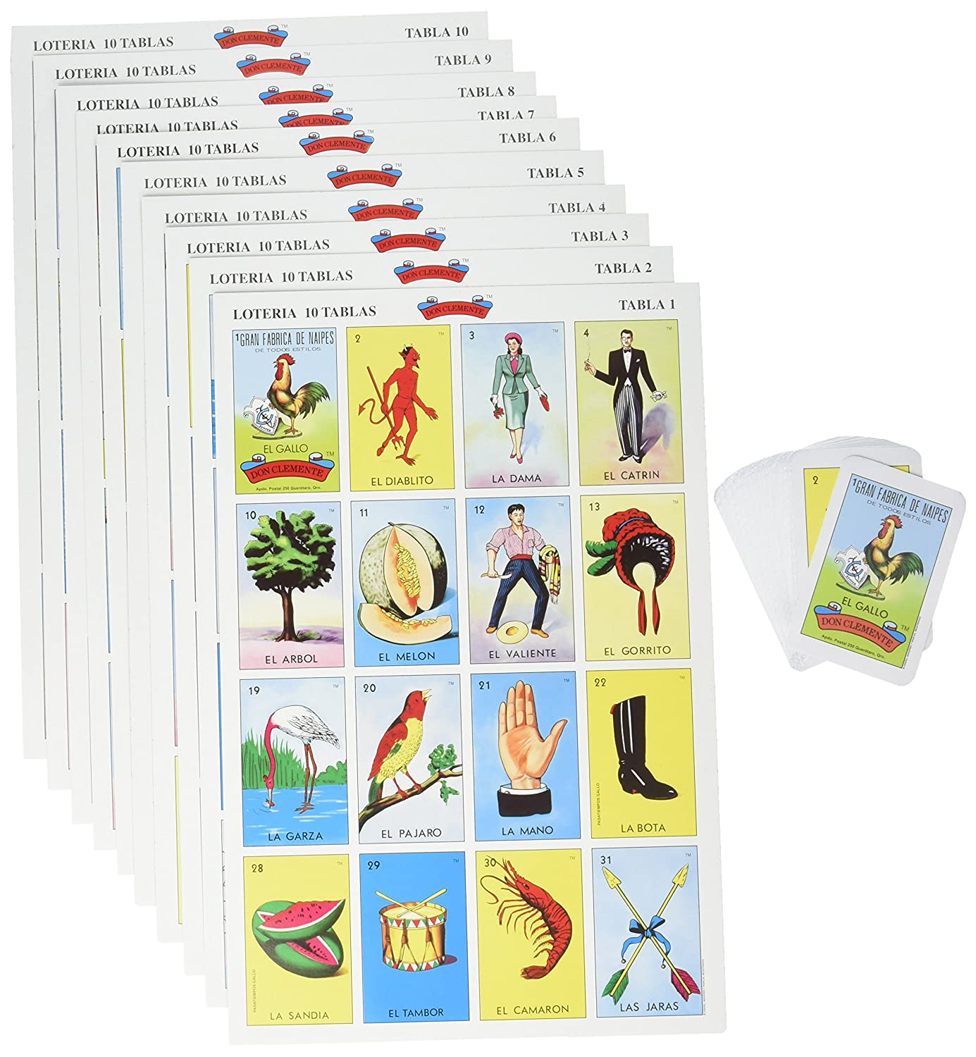 Don Clemente Mexican Jumbo Loteria Set, Deck of Cards Fun and Educational, 10 Large Boards