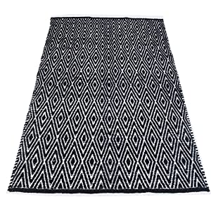 Chardin home 100% Cotton Diamond Area Rug Fully Reversible, Size - 5'x7', Black/White