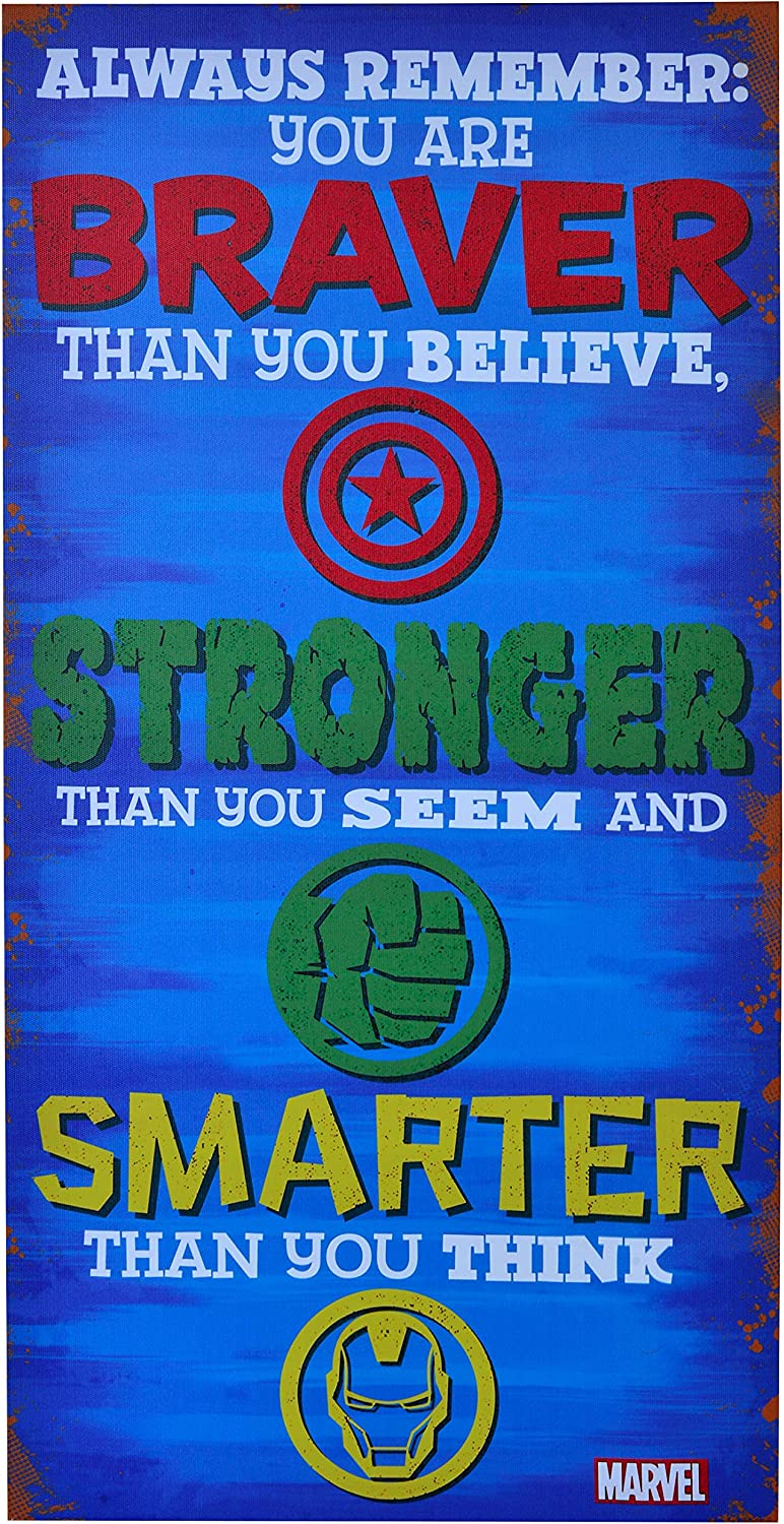 """Edge Home Products Marvel Inspirational Canvas Art, 12"""" x 24"""", Avengers Stronger"""