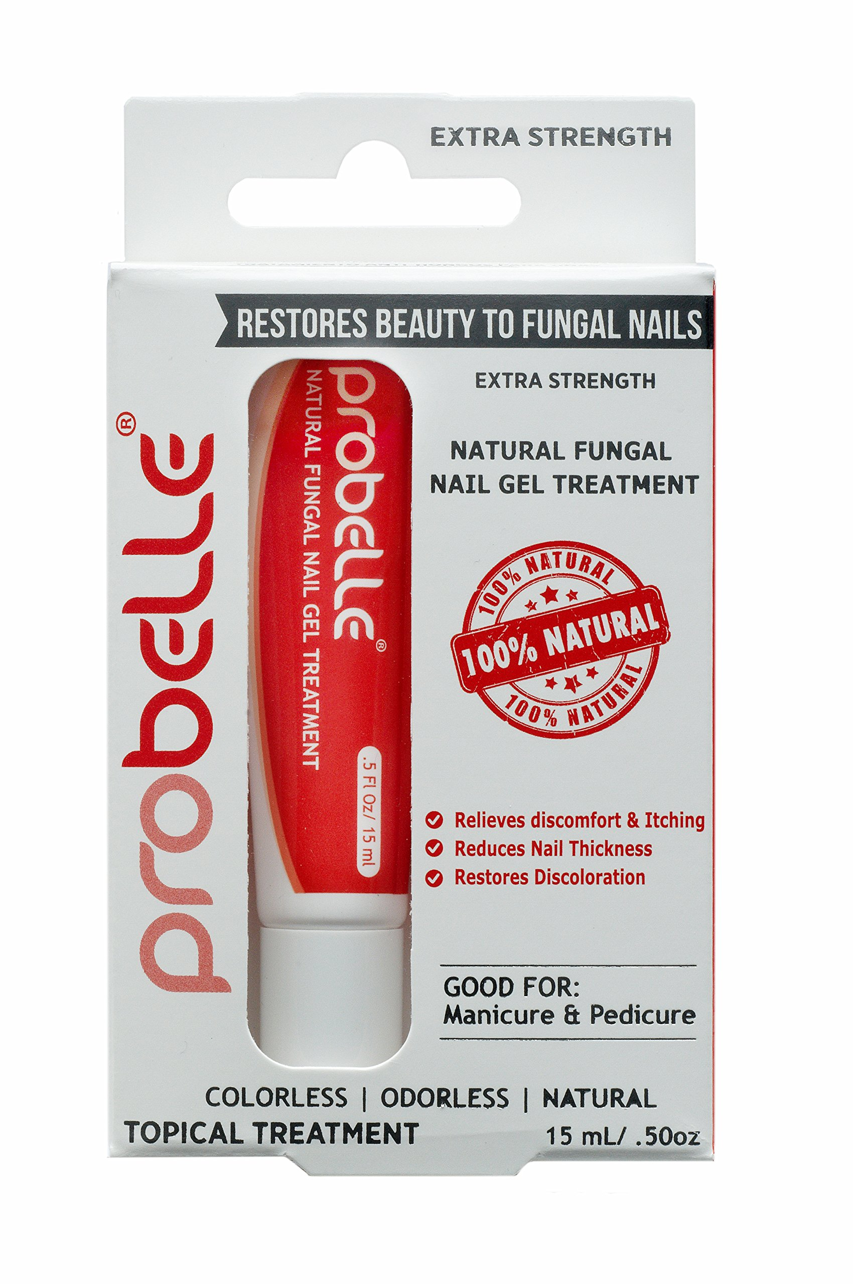 """Probelle """"Extra Strength"""" Natural Fungal Nail Gel Topical Treatment, Anti Fungus Nail Treatment, Restores Toenail Fungus, Clear, .5 oz - 15mL (Patented Formula & Clinically Tested)"""