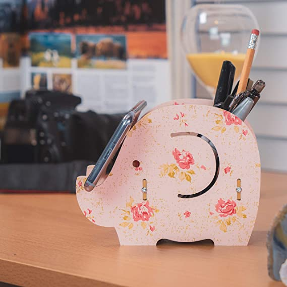 2326f7eafc Cell Phone Stand,Dreammax Cute Wood Elephant Pencil Pen Holder  ,MultiFunction Removable Mobile Phone