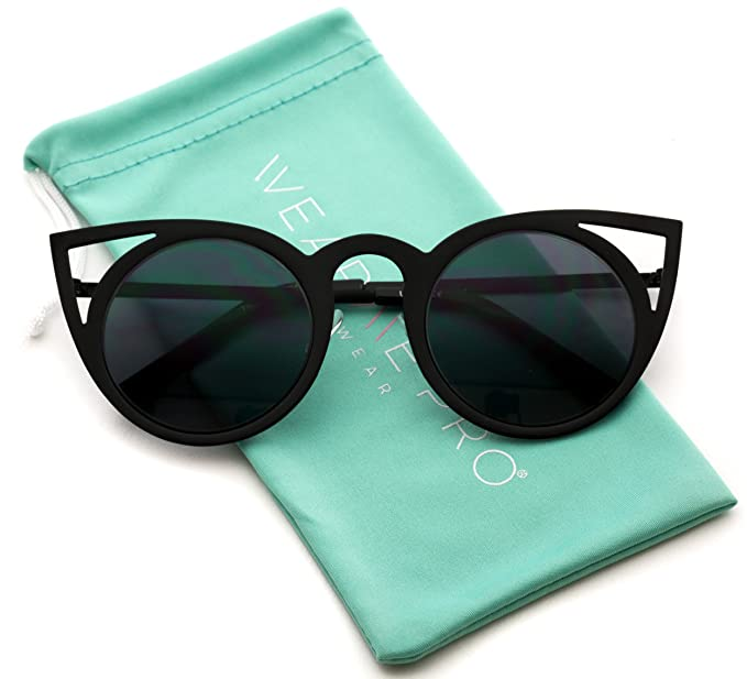 feefca5fa86 Image Unavailable. Image not available for. Color  Womens Cateye Retro  Fashion Retro Round Lens Cat Eye Sunglasses