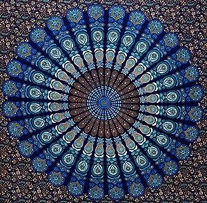 Blue Queen Mandala Tapestry, Indian Hippie Wall Hanging, Bohemian Twin Wall Hanging, Bedspread Beach Coverlet Throw Decor Art