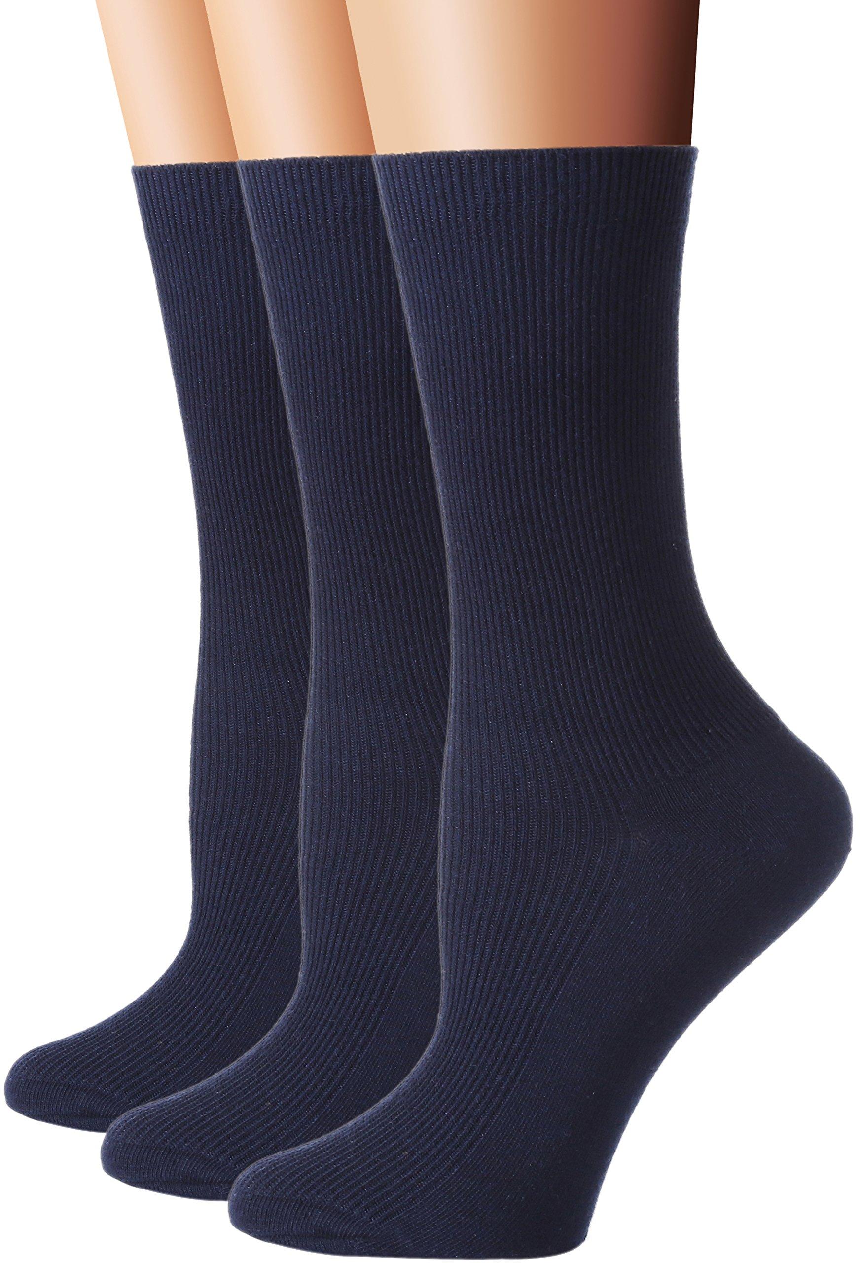 Flora&Fred Women's 3 Pair Pack Cotton Crew Socks Navy, Shoe Size 5-9