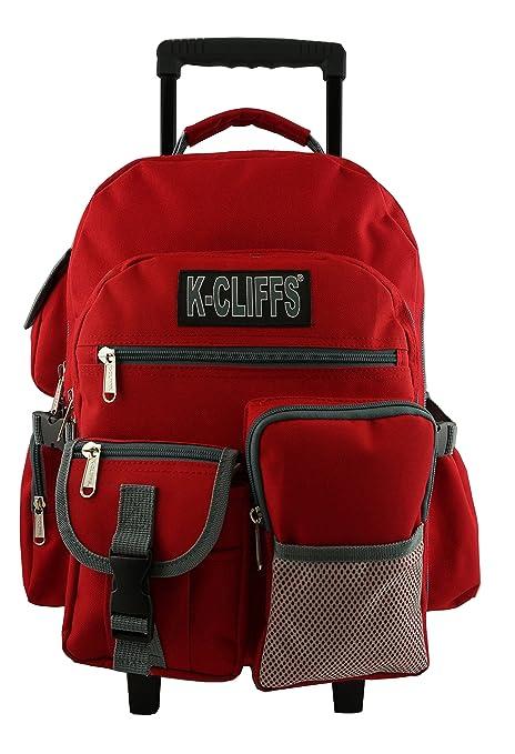 Rolling Mochila Resistente Mochila Escolar con Ruedas Deluxe Rolling libro bolsa mochila múltiples bolsillos rojo rosso