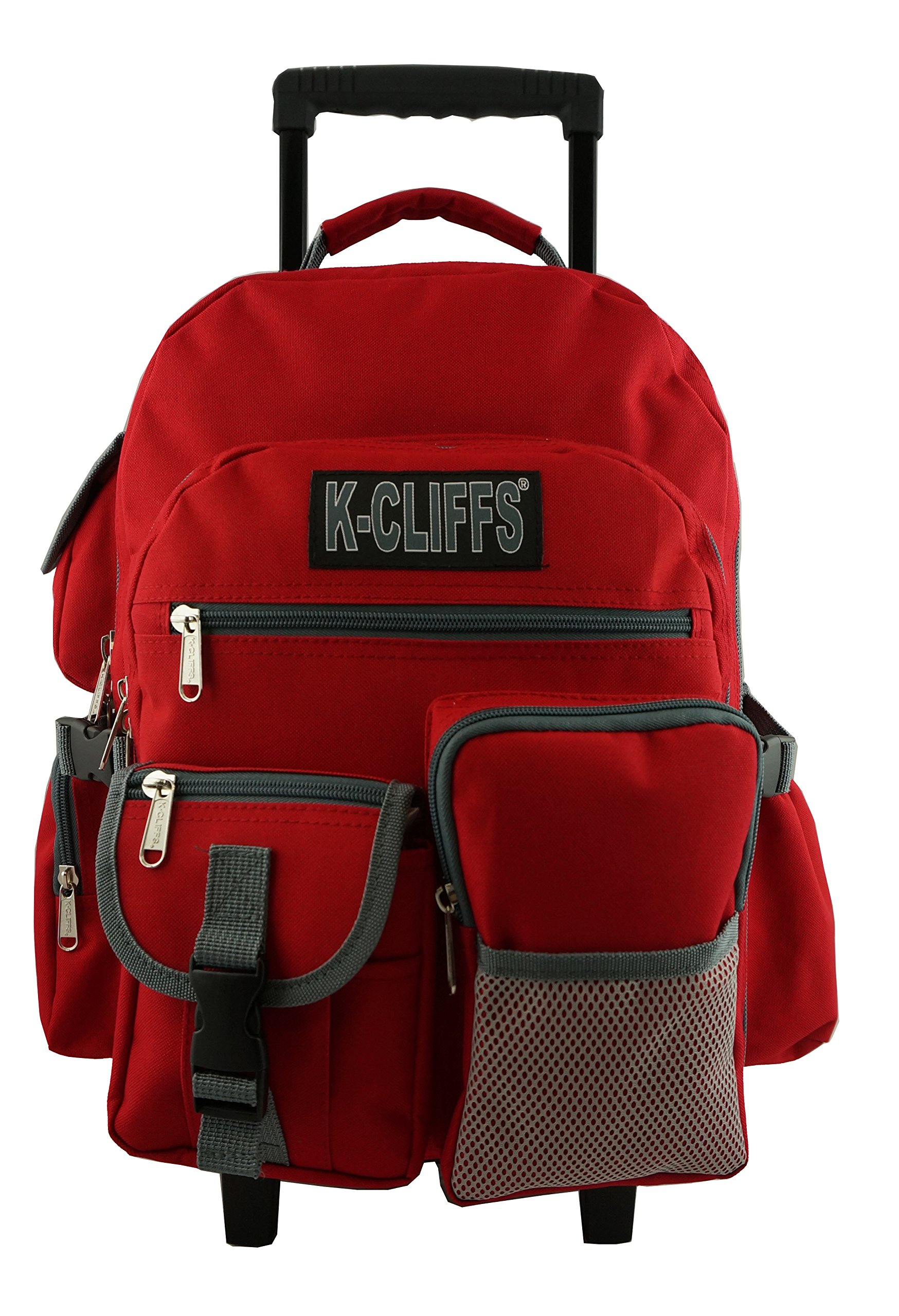 Rolling Backpack Wheeled School Backpack Book Bag Daypack with multiple Pockets Red