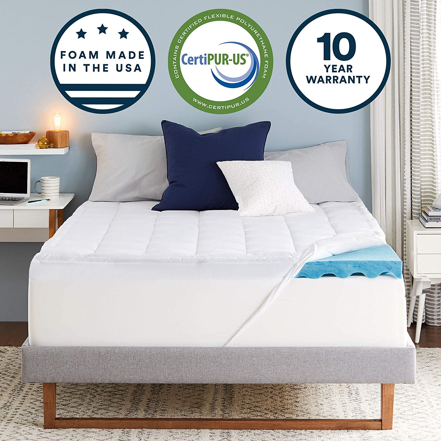 Amazon Com Sleep Innovations 4 Inch Dual Layer Gel Memory Foam