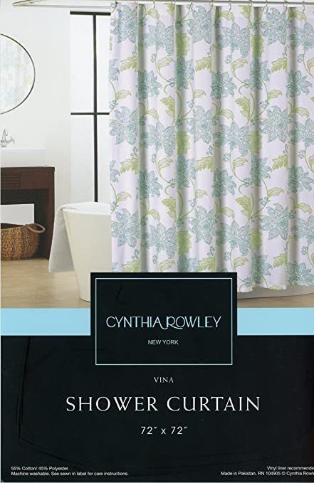 Amazon.com: Cynthia Rowley New York Shower Curtain Vina - Blue ...