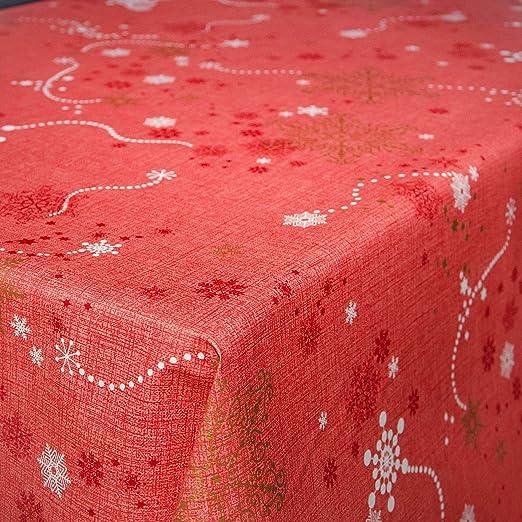 ANRO Mantel encerado de hule lavable, diseño de Navidad con copos ...