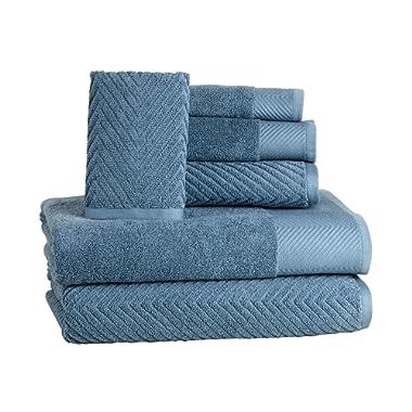 6 Piece Premium Cotton Bath Towels Set - 2 Bath Towels, 2 Hand Towels, 2 Washcloths Machine Washable Super Absorbent Hotel Spa Quality Luxury Towel Gift Sets Chevron Towel Set - Blue Stone