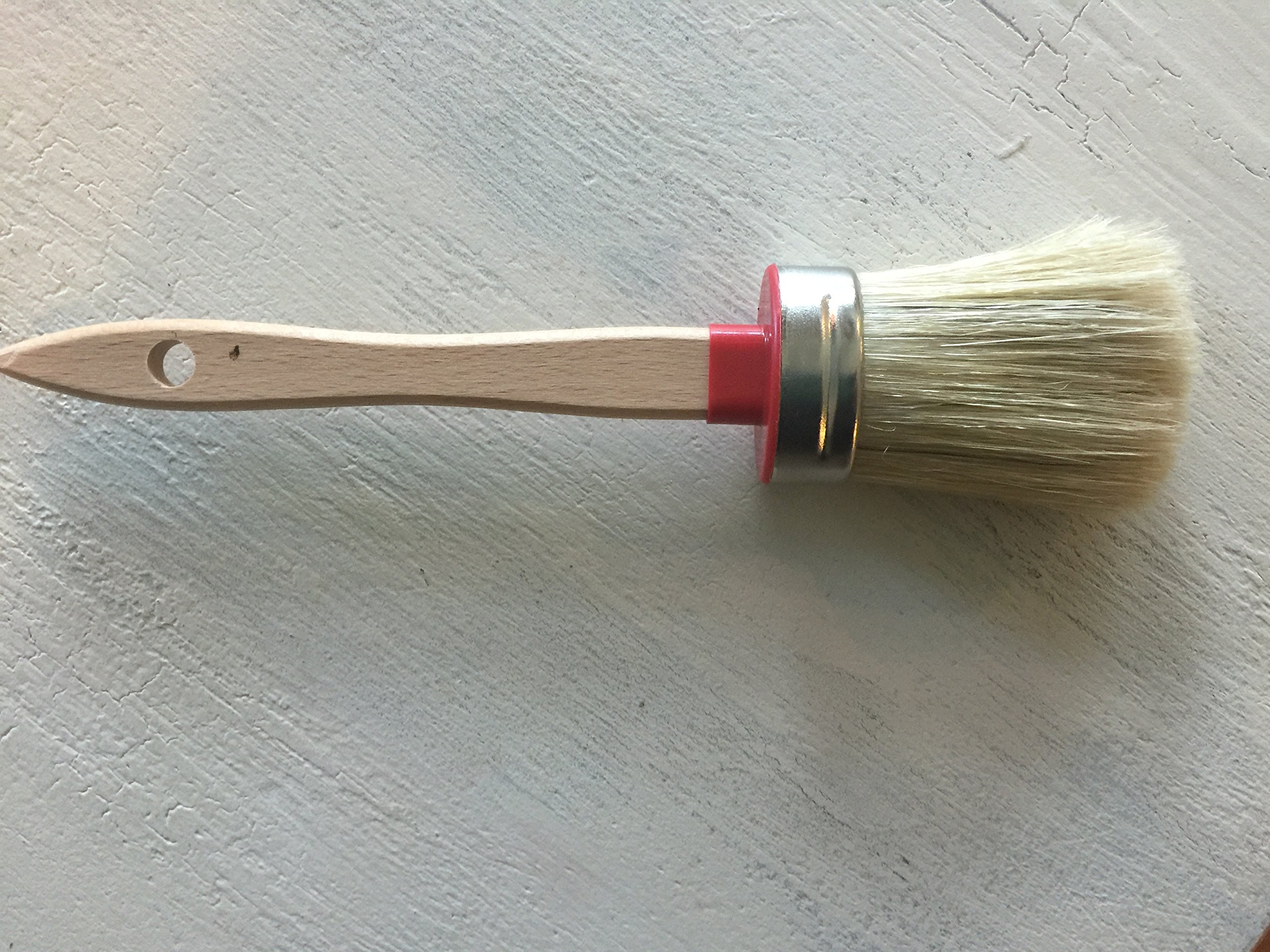 Chalkology Artisan Series - Oval Chalk Paint Waxing Brush, Small, Professional Brush, Pure Bristle, Varnished Wood Handle