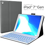 iPad 7th Generation Case with Keyboard - Compatible with iPad 10.2, iPad Air 3, iPad Pro 10.5 - Backlit, Wireless, Smart Keyboard Folio for Apple iPad - iPad 10.2 Keyboard - Gray