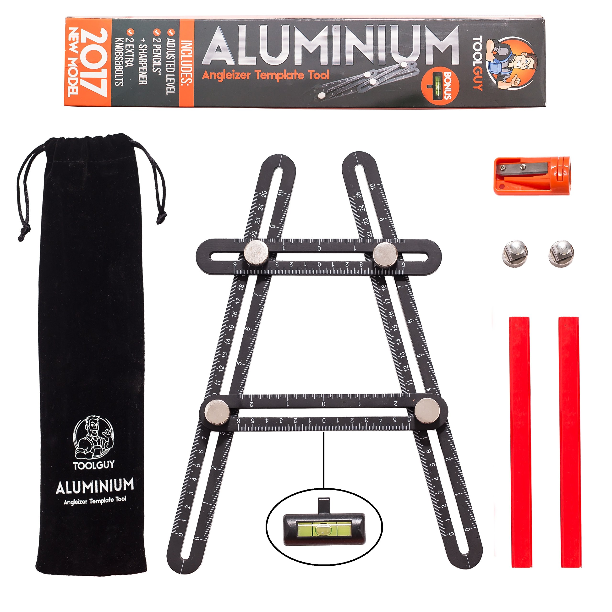 ToolGuy Angleizer Template Tool 100% Aluminum Upgraded with Customized Leveler, Metal Bolts and Knobs, Best For Builders, Handyman'S and Diy Ers
