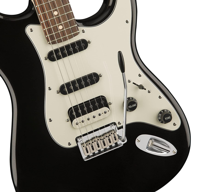 Squier por Fender Stratocaster Guitarra eléctrica contemporánea - HSS - Diapasón de Palisandro), color negro metálico: Amazon.es: Instrumentos musicales