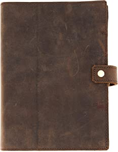 Refillable Leather Journal   Premium Lined A5 Writing Notebook Cover   Pen Holder & Card Slot   200 Pages   9 x 6 Inches Leather Bound Journal for Men & Women, Best Gift for Travel Diary