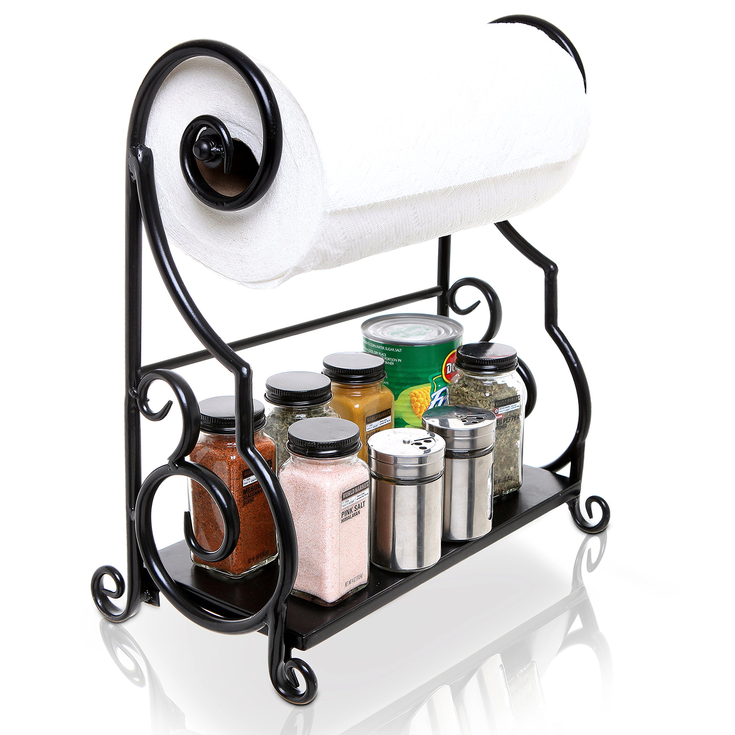 MyGift Black Metal Kitchen Countertop Paper Towel Holder Bar with Condiment Shelf Rack by MyGift