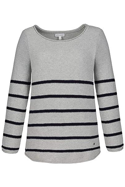 Gina Laura Große Größen Damen Pullover, Ricecorn, Streifen