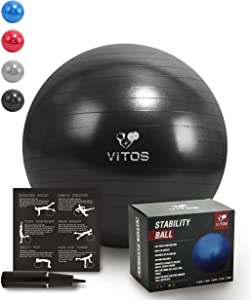 Vitos Anti Burst Exercise Yoga Ball | Extra Thick Non Slip Supports 2200LB for Fitness Stability Birth Balance Pilates Workout Guide Quick Pump Included Professional Quality Design