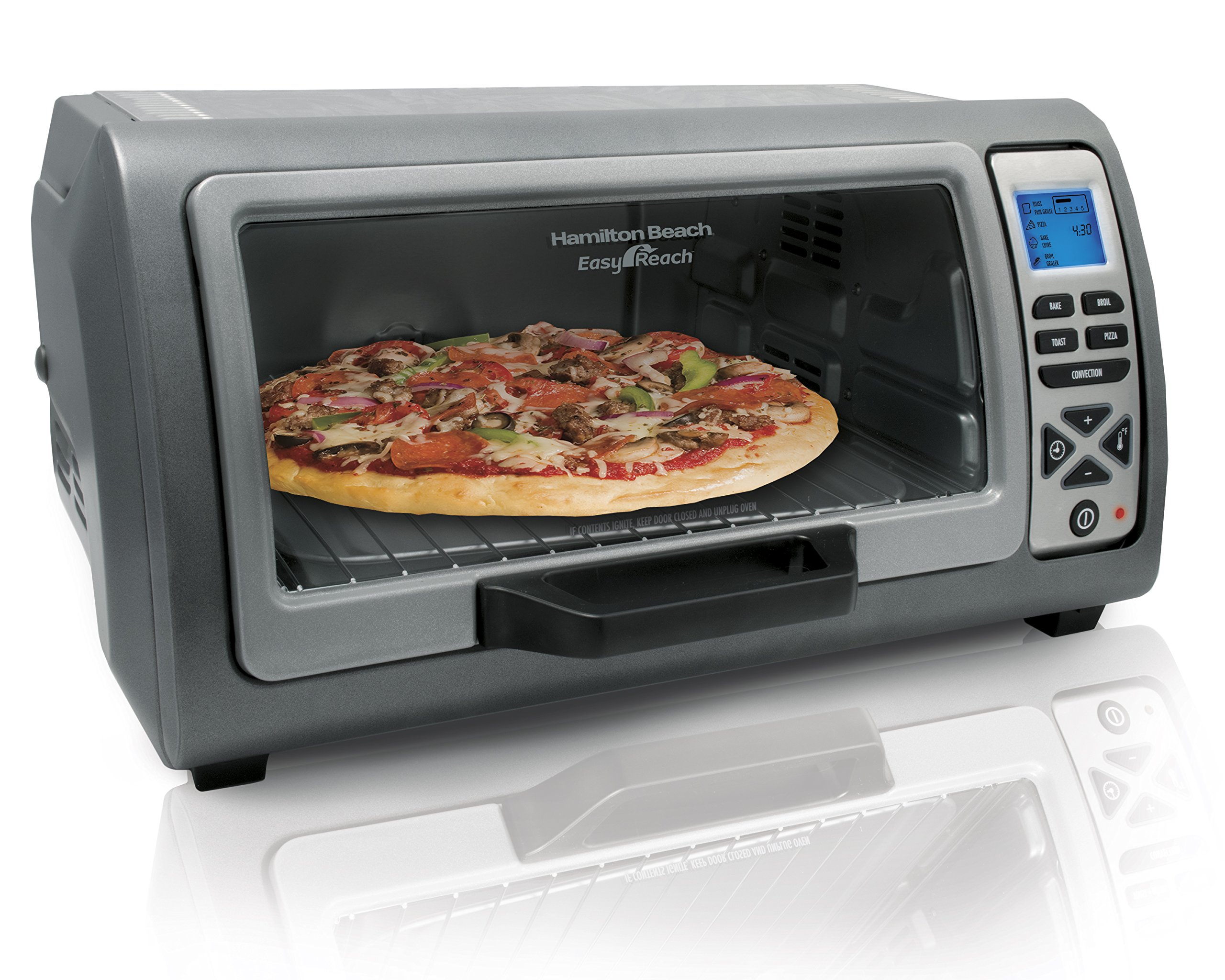 Hamilton Beach 31128 Easy Reach Toaster Oven, with Roll-Top Door, Stainless Steel by Hamilton Beach
