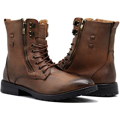 Enzo Romeo SH04 Mens Military Combat Mid Calf High Lace Up Zipper Fur Lining Winter Snow Boots   Snow Boots