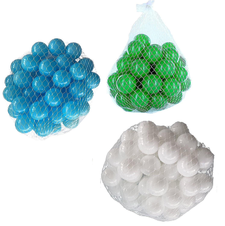 150 Bälle für Bällebad gemischt mix mit türkis, weiß und grün mybällebad