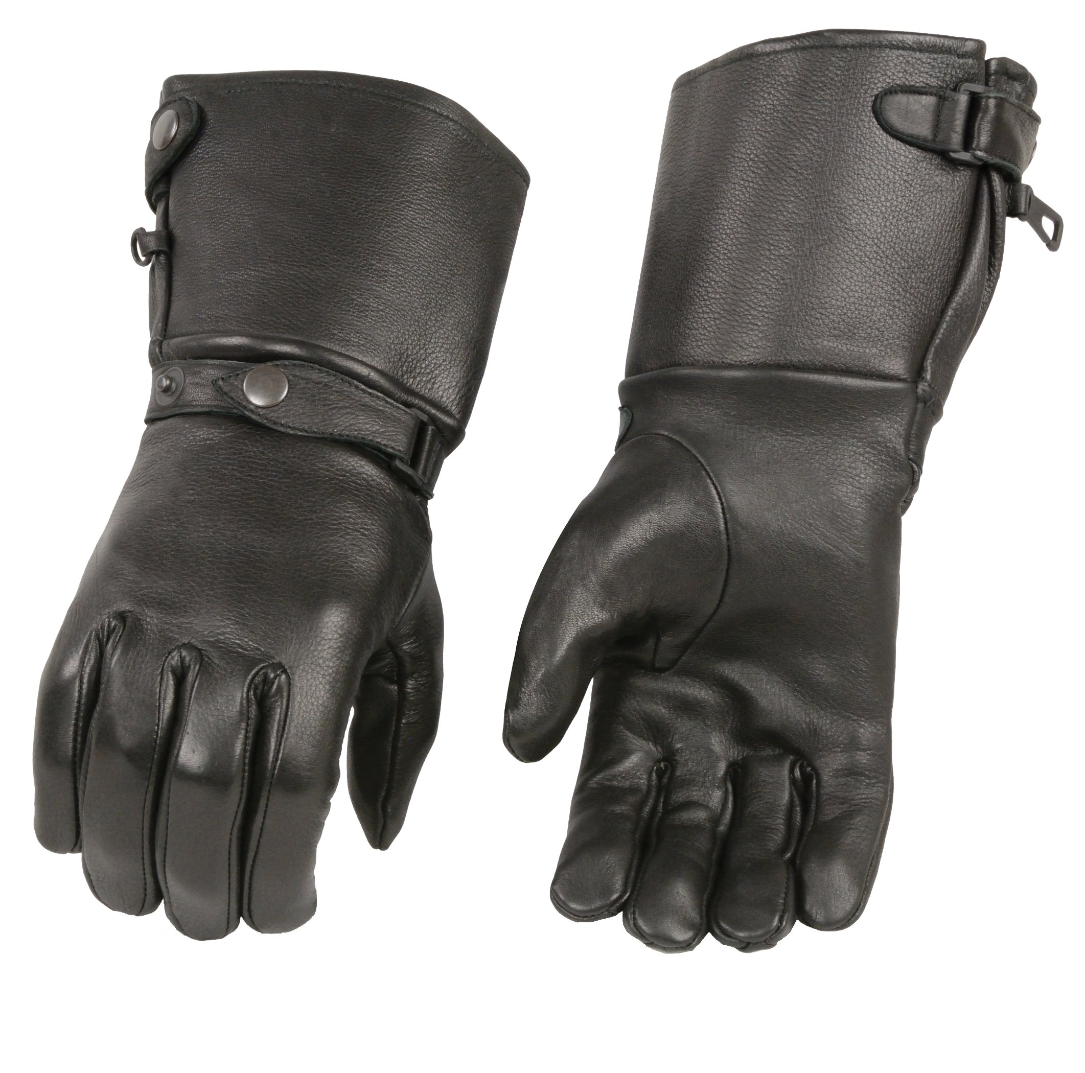 M-BOSS APPAREL-Men's USA Deerskin Thermal Lined Gauntlet Gloves w Snap Wrist & Cuff-Black-L