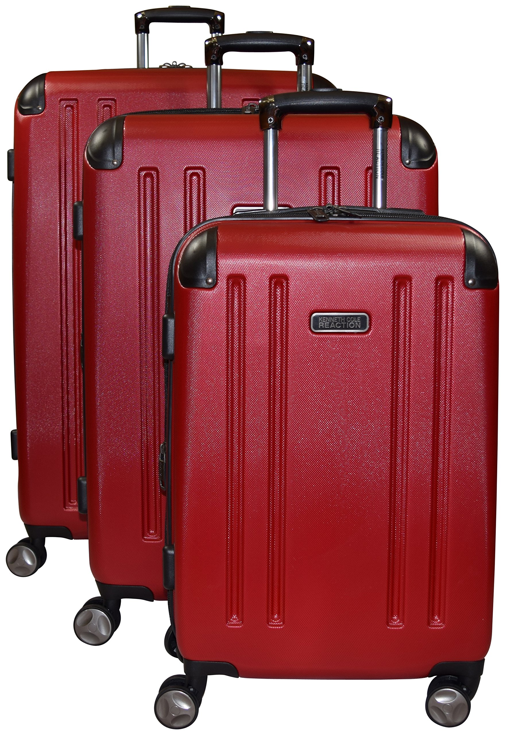 Kenneth Cole Reaction 8 Wheelin Expandable Luggage Spinner Wheeled Suitcase, 3 Pc Set , 29, 25 & 20-inch (Red) by Kenneth Cole