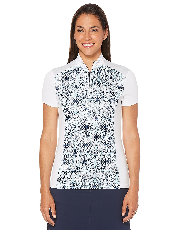 Callaway Women 's Ventilatedカレイドスコープモック半袖ゴルフポロシャツ X-Large ホワイト X-Large ブライトホワイト B075X449GH