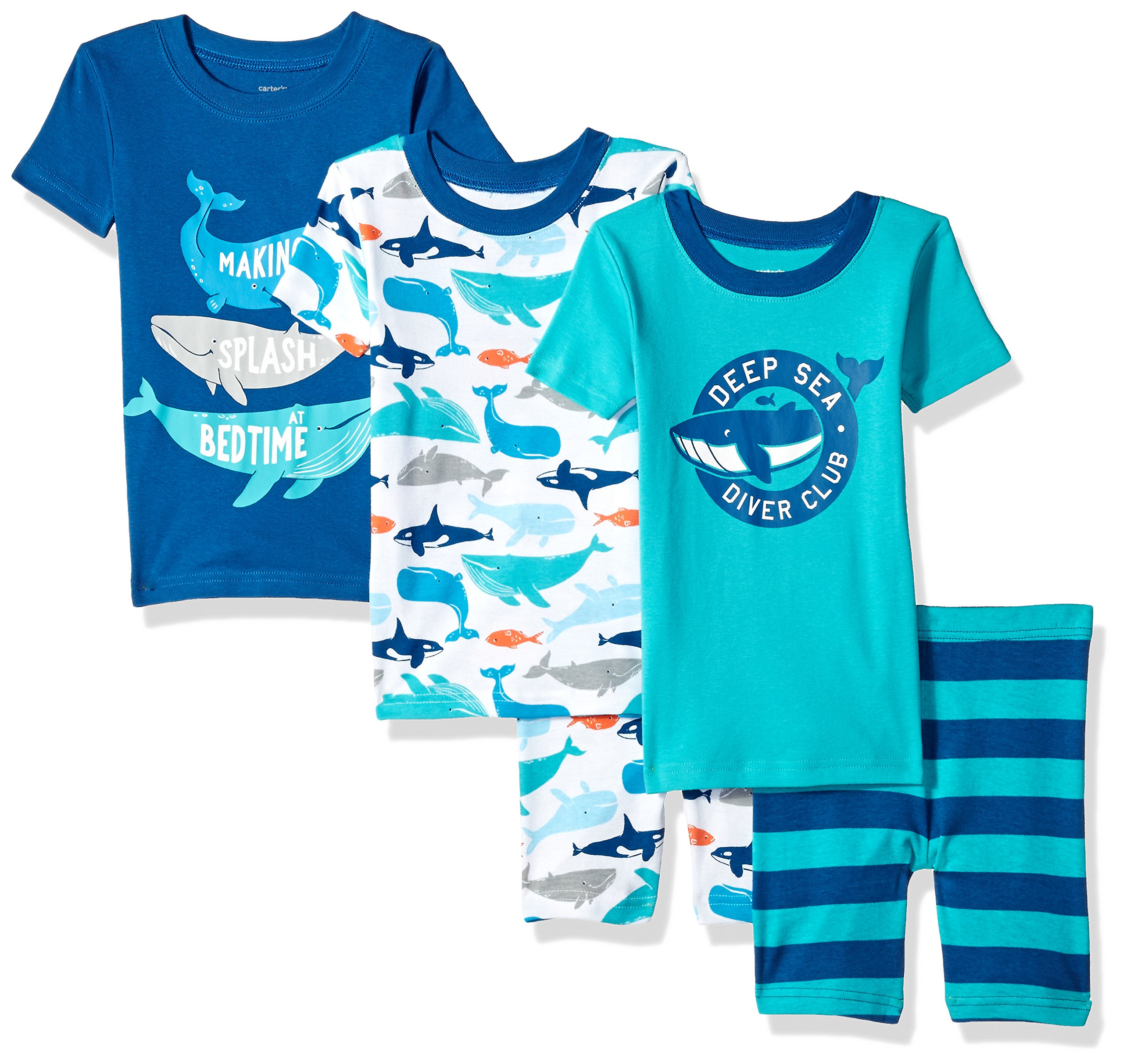 Carter's Boys' Little 5-Piece Cotton Snug-Fit Pajamas, Whale, 6