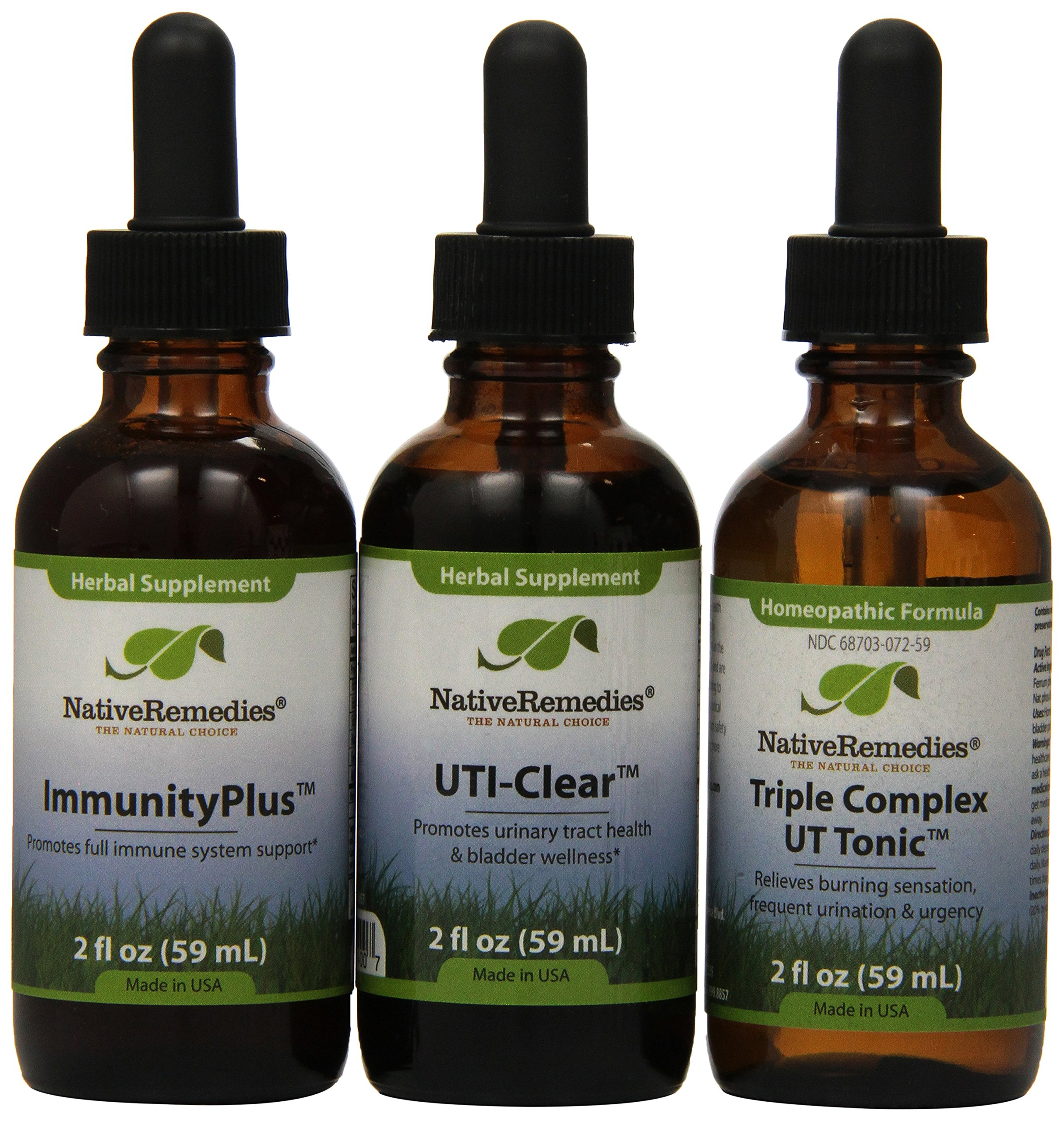 Native Remedies Immunity Plus, UTI-Clear and Triple Complex UT-Tonic 2 fl oz (each)