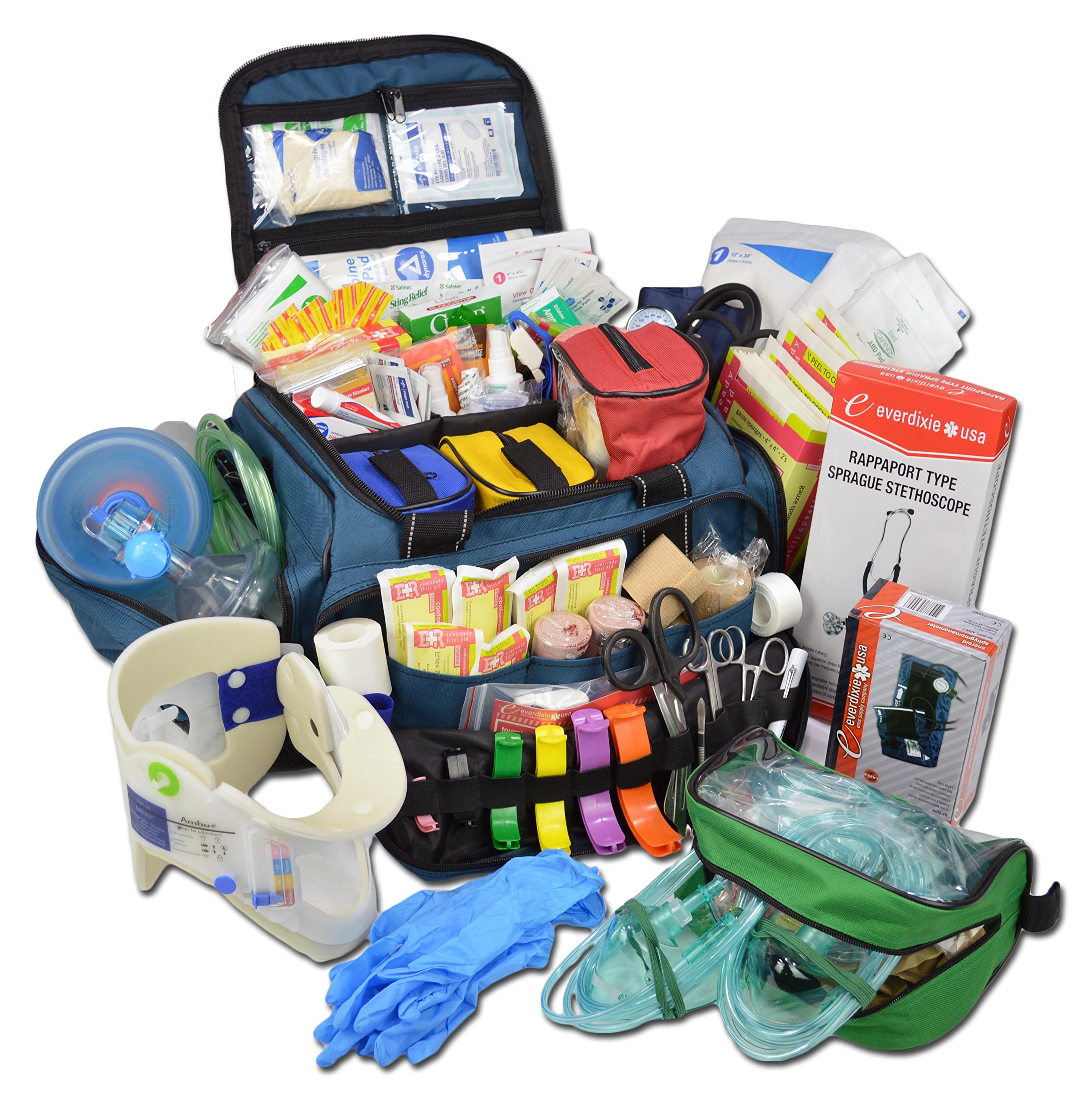 Lightning X Extra Large Medic First Responder EMT Trauma Bag Stocked First Aid Deluxe Fill Kit C (Blue) by Lightning X Products