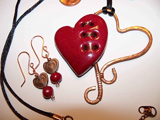 Amazon.com: Stitched Red Heart With A Copper Wire Heart Necklace Set ...